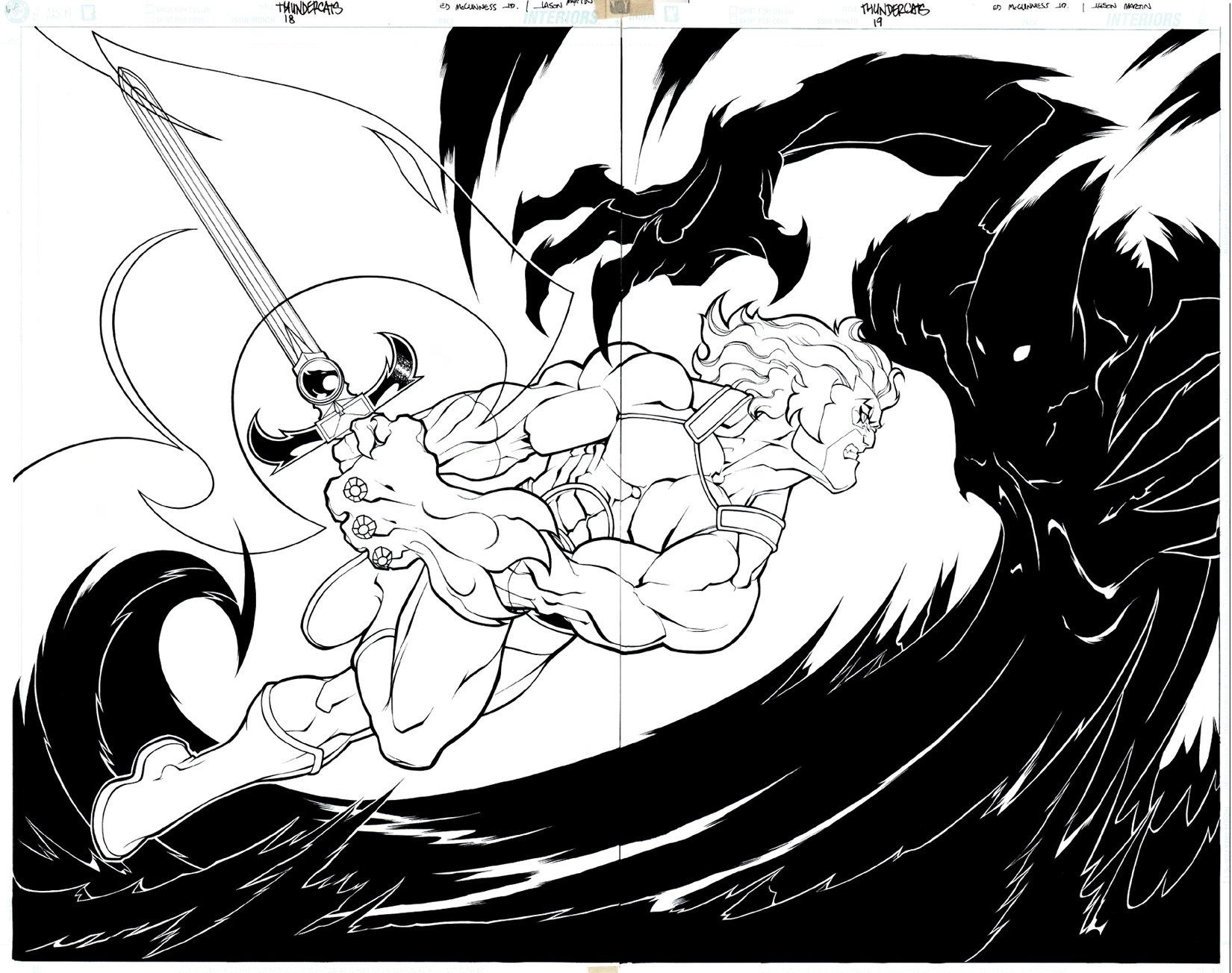 Thundercats #1 p 18-19 Double Spread Splash (Awesome Lion-O Battle!) 2002