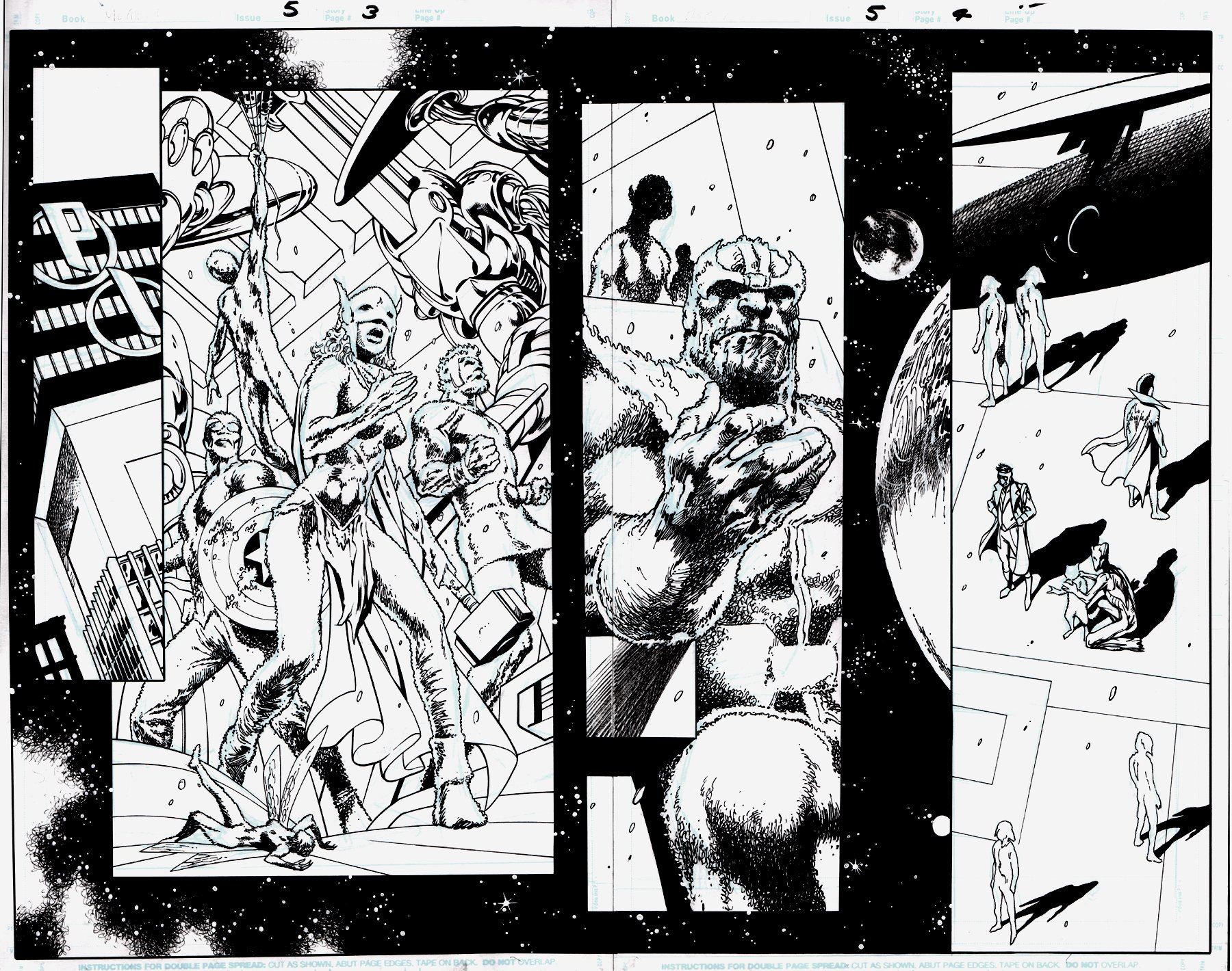 Guardians of the Galaxy: Mother Entropy #5 p 3-4 Double Page SPLASH (AVENGERS, GUARDIANS, THANOS, JANE FOSTER THOR!) 2017