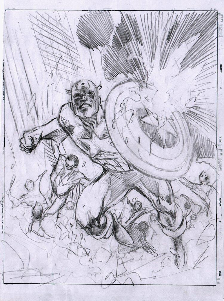 Captain America #7 Cover Pencils (Captain America & Falcon!) 2011