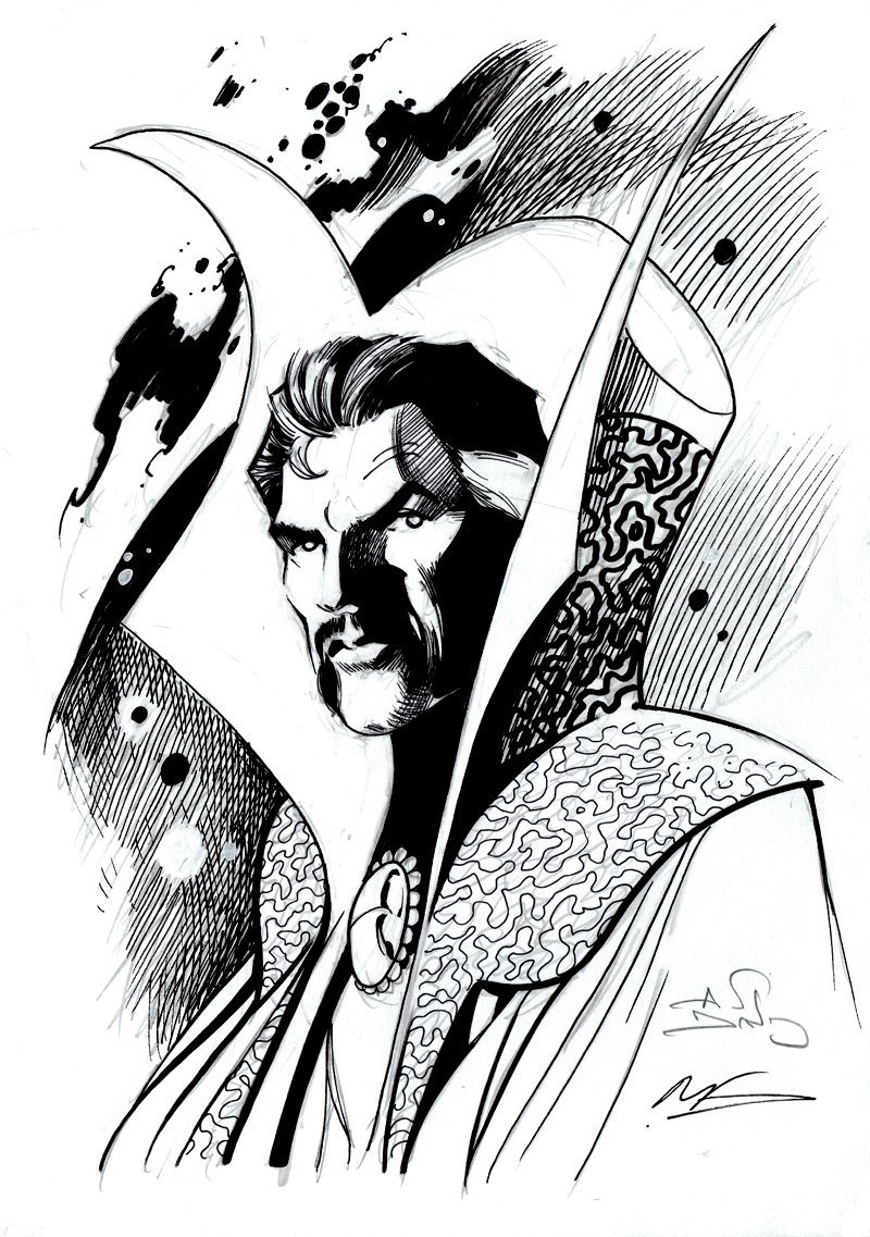 Dr. Strange Pinup (SOLD LIVE ON 'DUELING DEALERS OF COMIC ART' EPISODE #10 PODCAST ON 3-31-2021 (RE-WATCH OUR LIVE ART SELLING PODCAST HERE!)