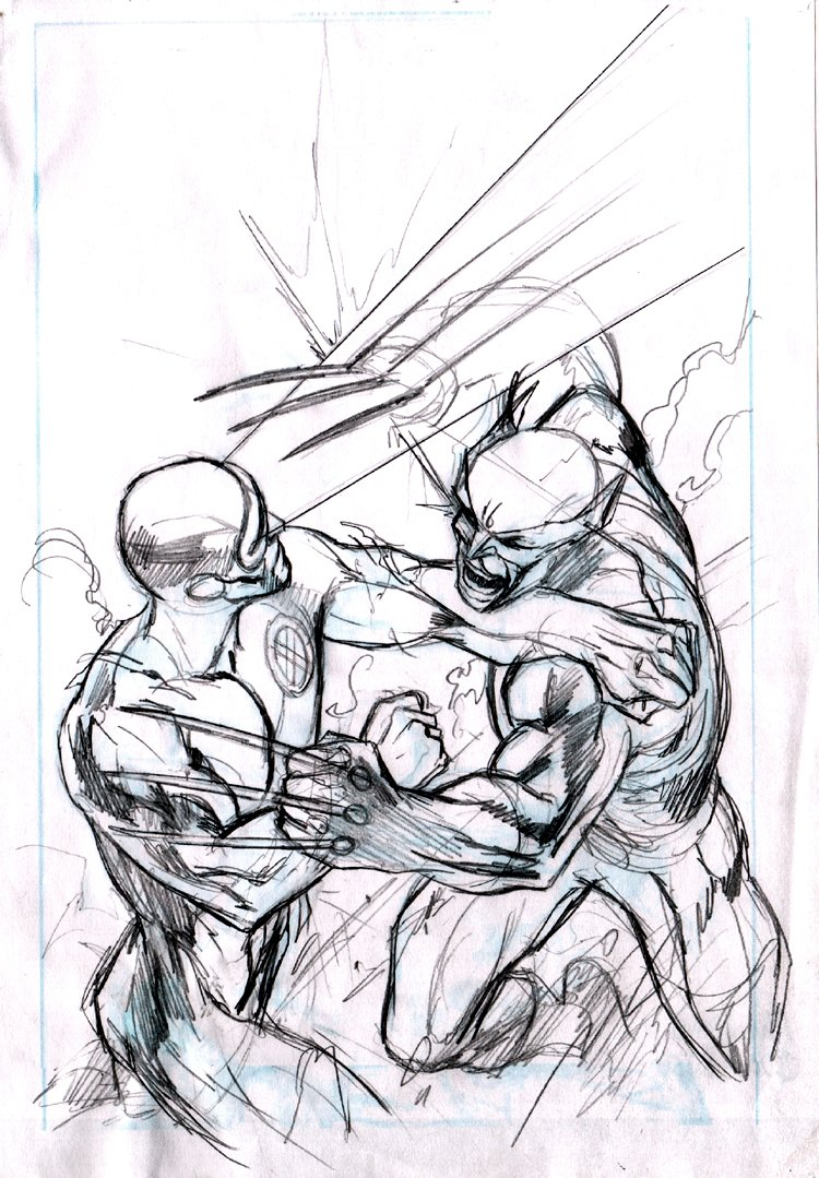 X-Men: Schism #4 Cover Pencils (Cyclops Vs Wolverine!) 2011