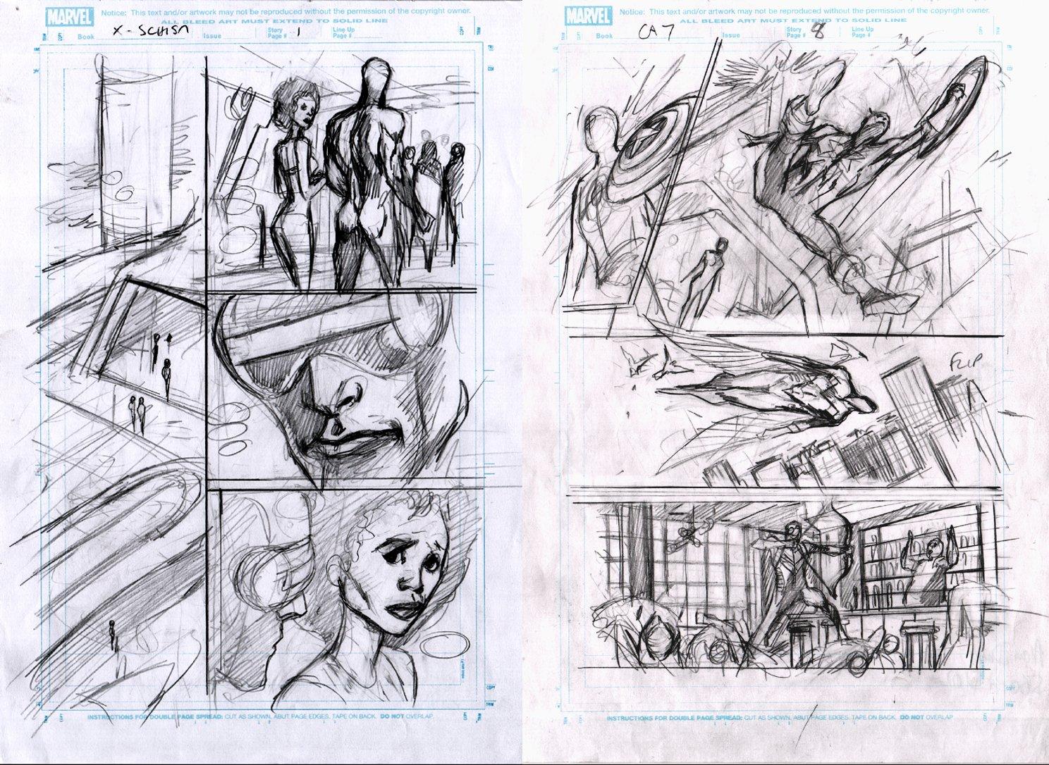 X-Men: Schism #4 p 1 & Captain America #7 p 8 Prelim Pages (2011)
