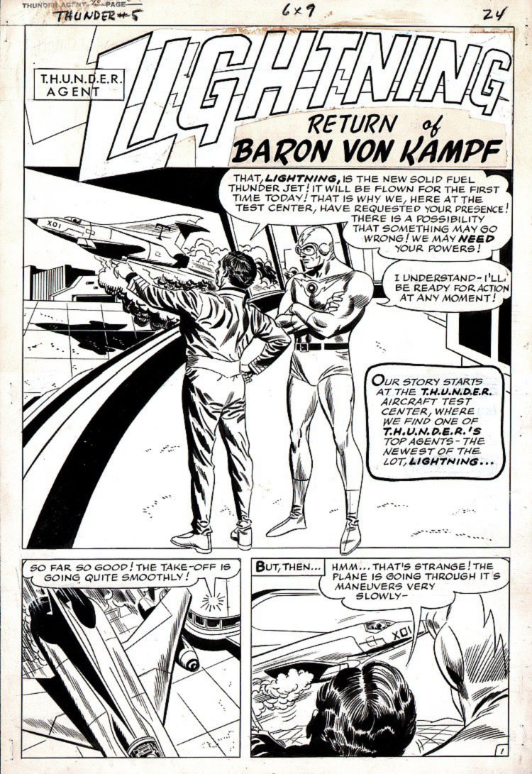 T.H.U.N.D.E.R. Agents #7 p 1 SPLASH (LIGHTNING!) Large Art - 1966