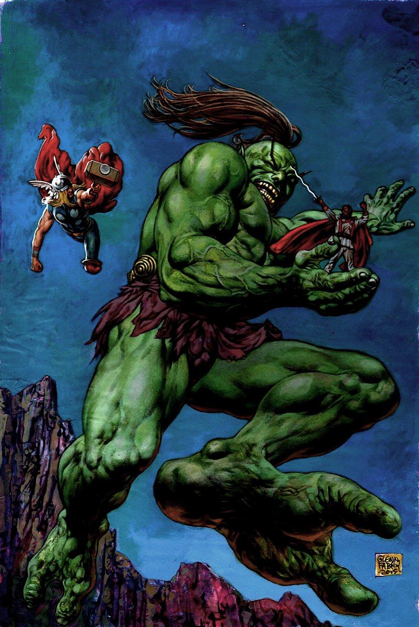 Captain America: White #3 Cover Painting (Thor Battling Kirby Bigfoot Jinni Demon!) 2015