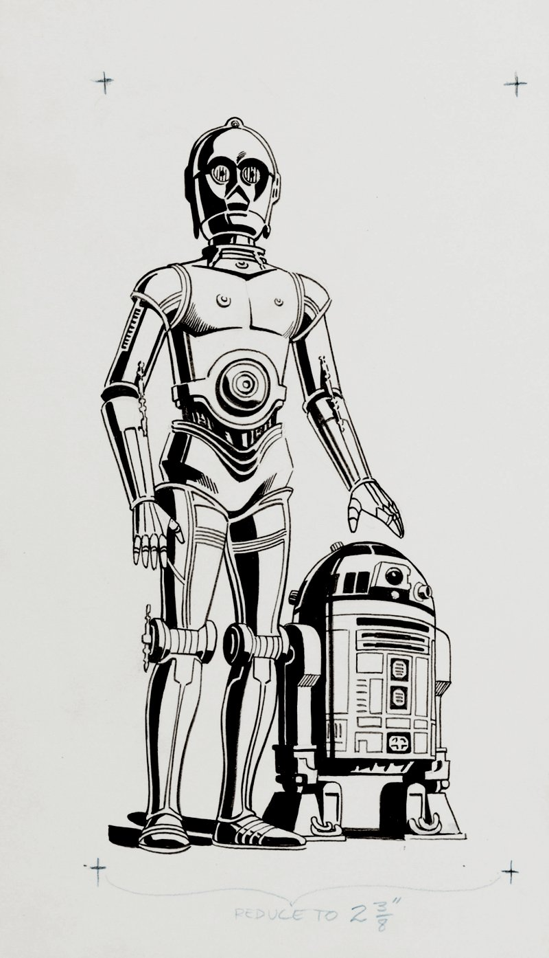 Star Wars Sunday Comic Strip Title Block Illustration (C3PO and R2D2 Used For Just The 2nd and 3rd Earliest Sundays!) 1979