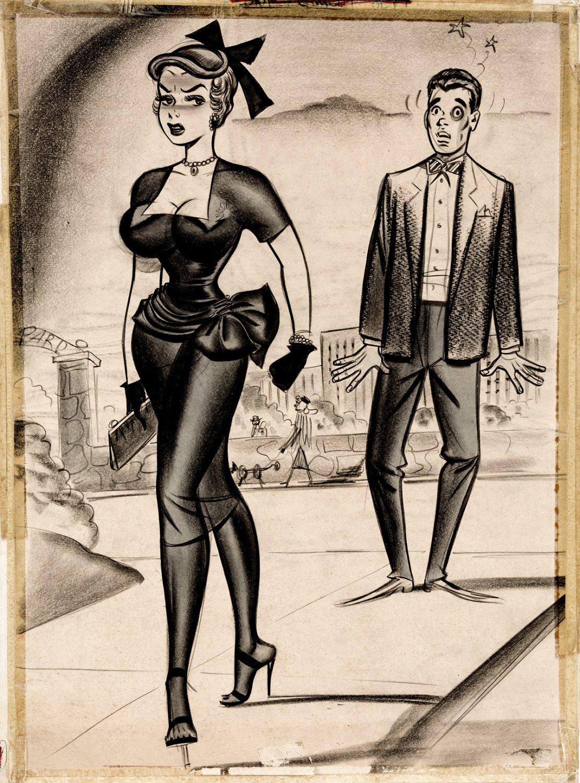 Large Sexy Bill Ward 1955 Published Humorama Pinup