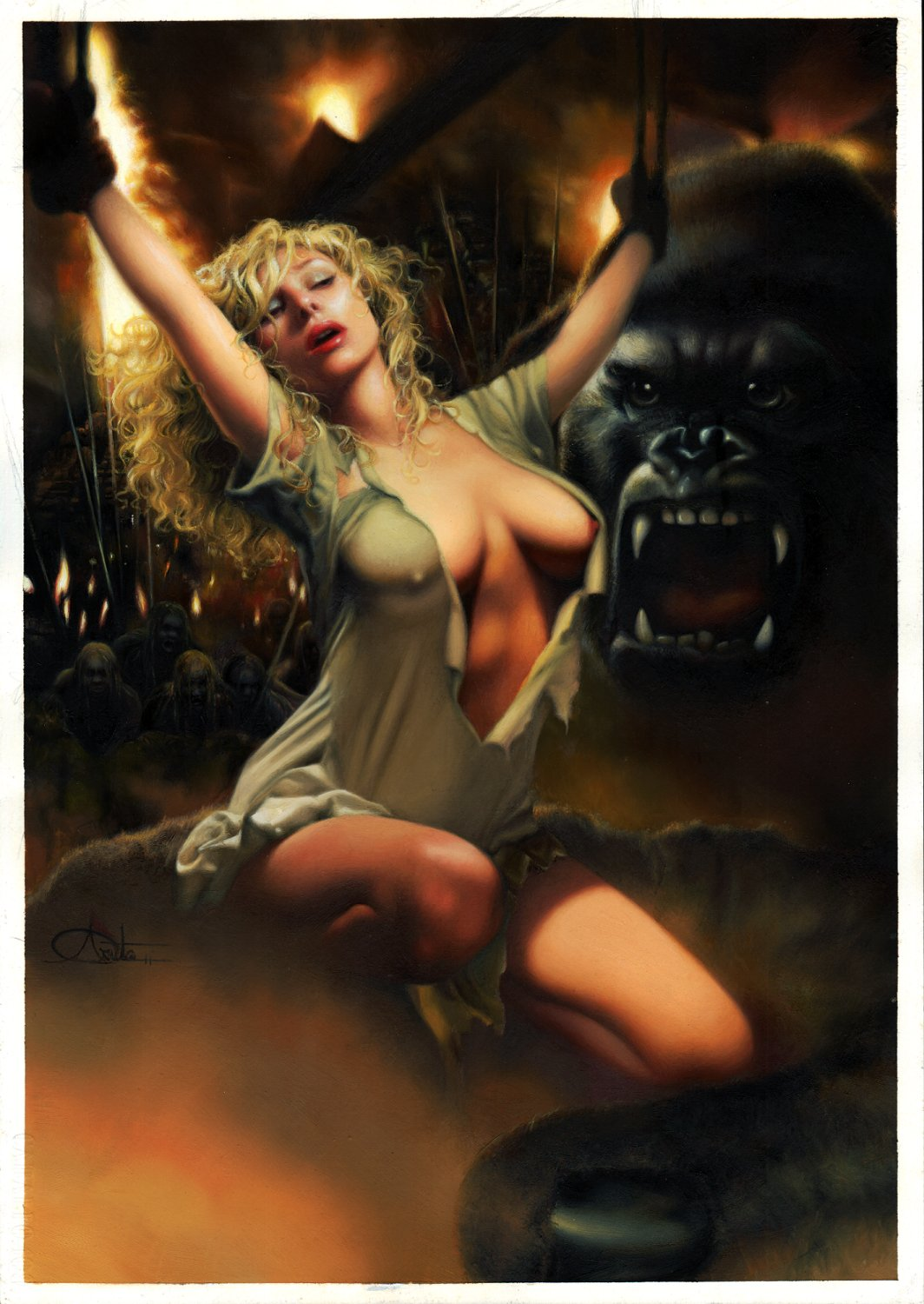 KING KONG & BONDAGE ANN DARROW (Scarlett Johansson) Stunning Painting (OVER 18 YRS OLD TO VIEW!) 2005