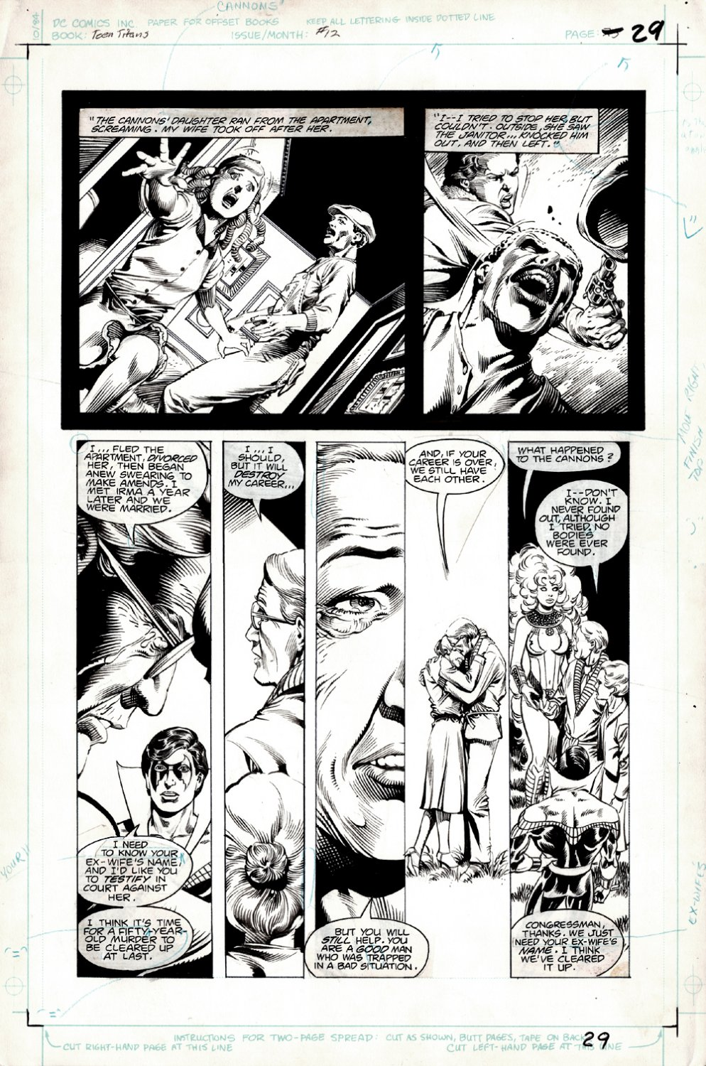 New Teen Titans #12 p 25 (SOLD LIVE ON 'DUELING DEALERS OF COMIC ART' EPISODE #10 PODCAST ON 3-31-2021 (RE-WATCH OUR LIVE ART SELLING PODCAST HERE!)