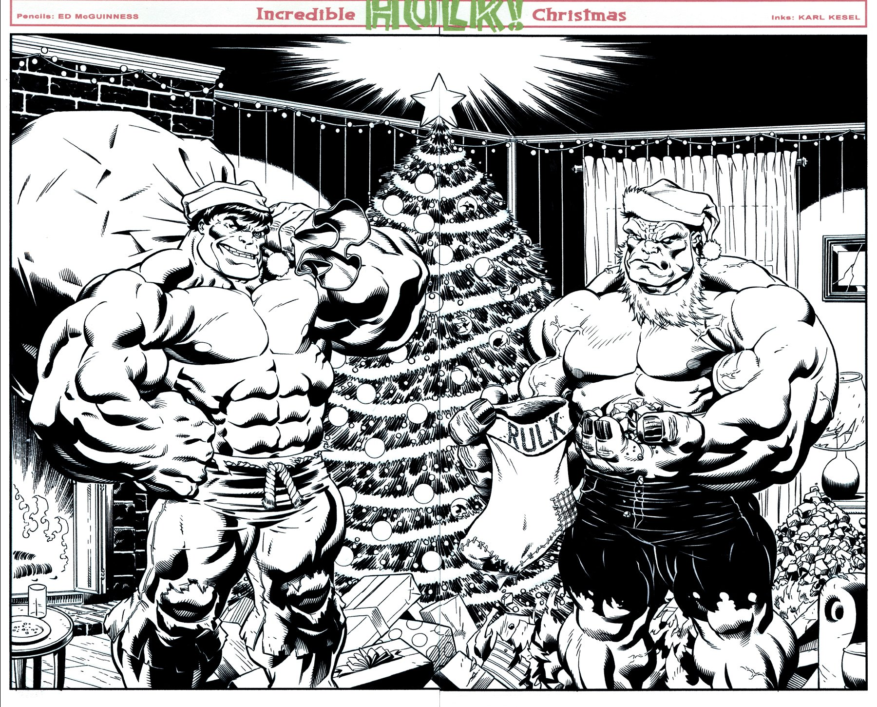 Hulk #9 Wraparound Double Cover (GREEN HULK & RED HULK CHRISTMAS SCENE!) 2008