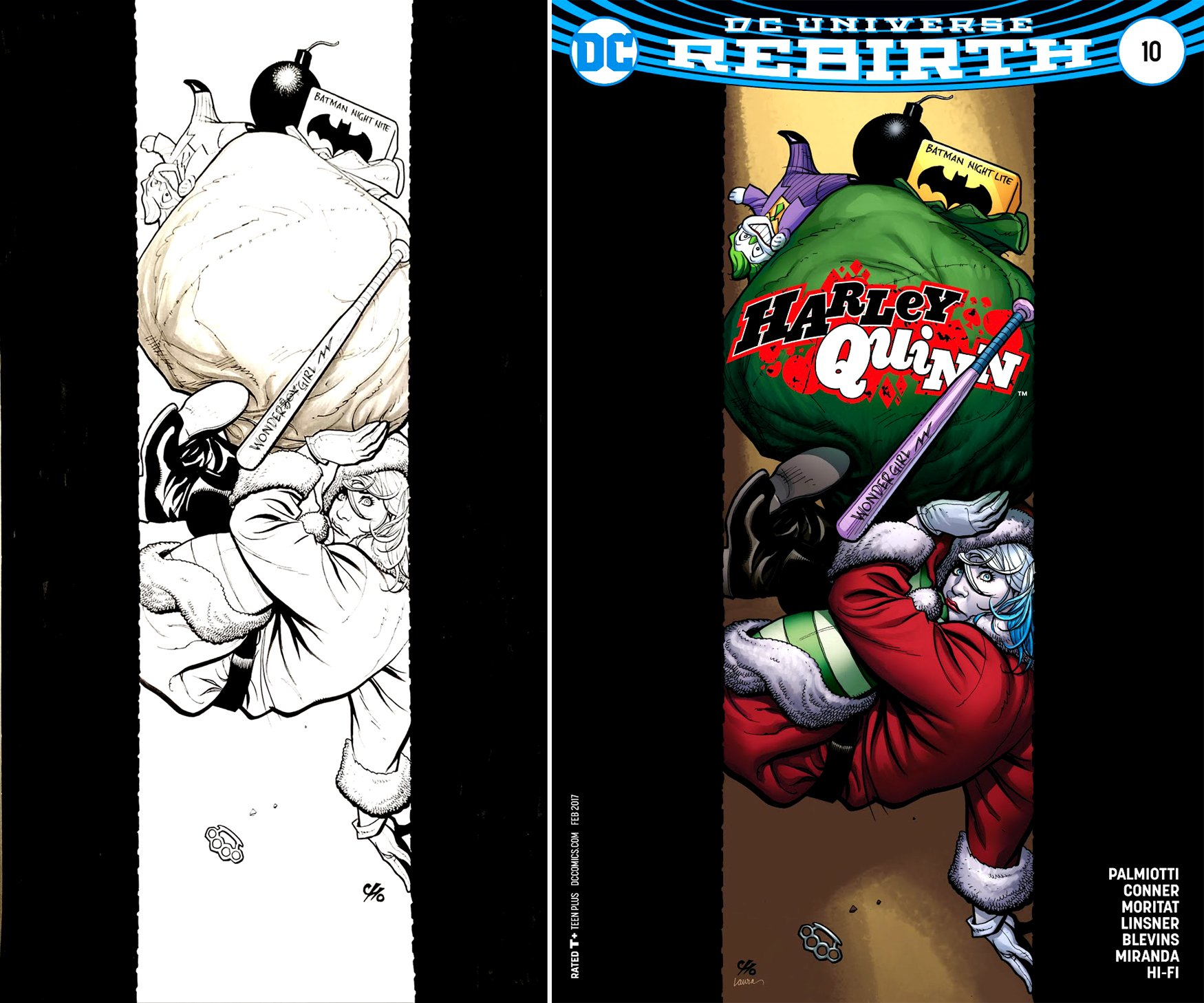 Harley Quinn #10 Cover (VERY LARGE HARLEY CHRISTMAS COVER!) 2016
