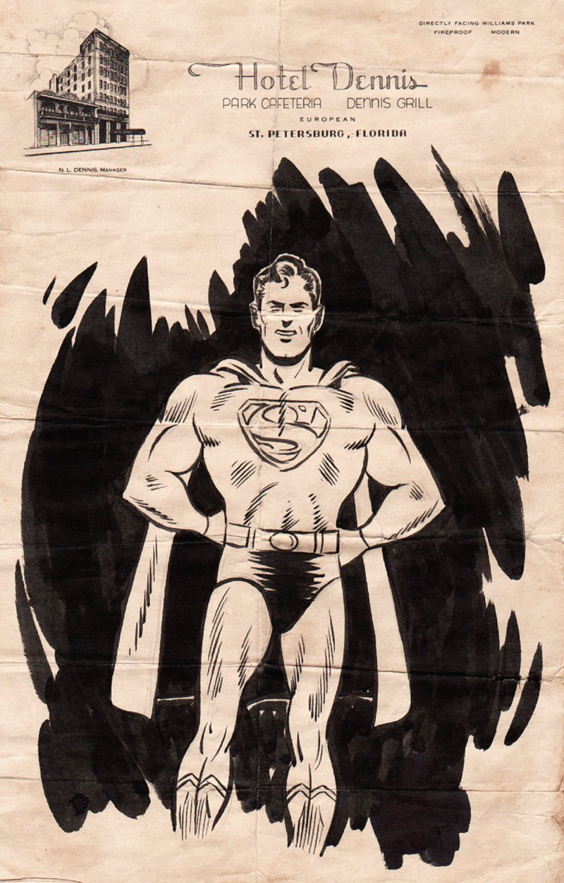 Superman Full-Figure Ink Drawing (1944)