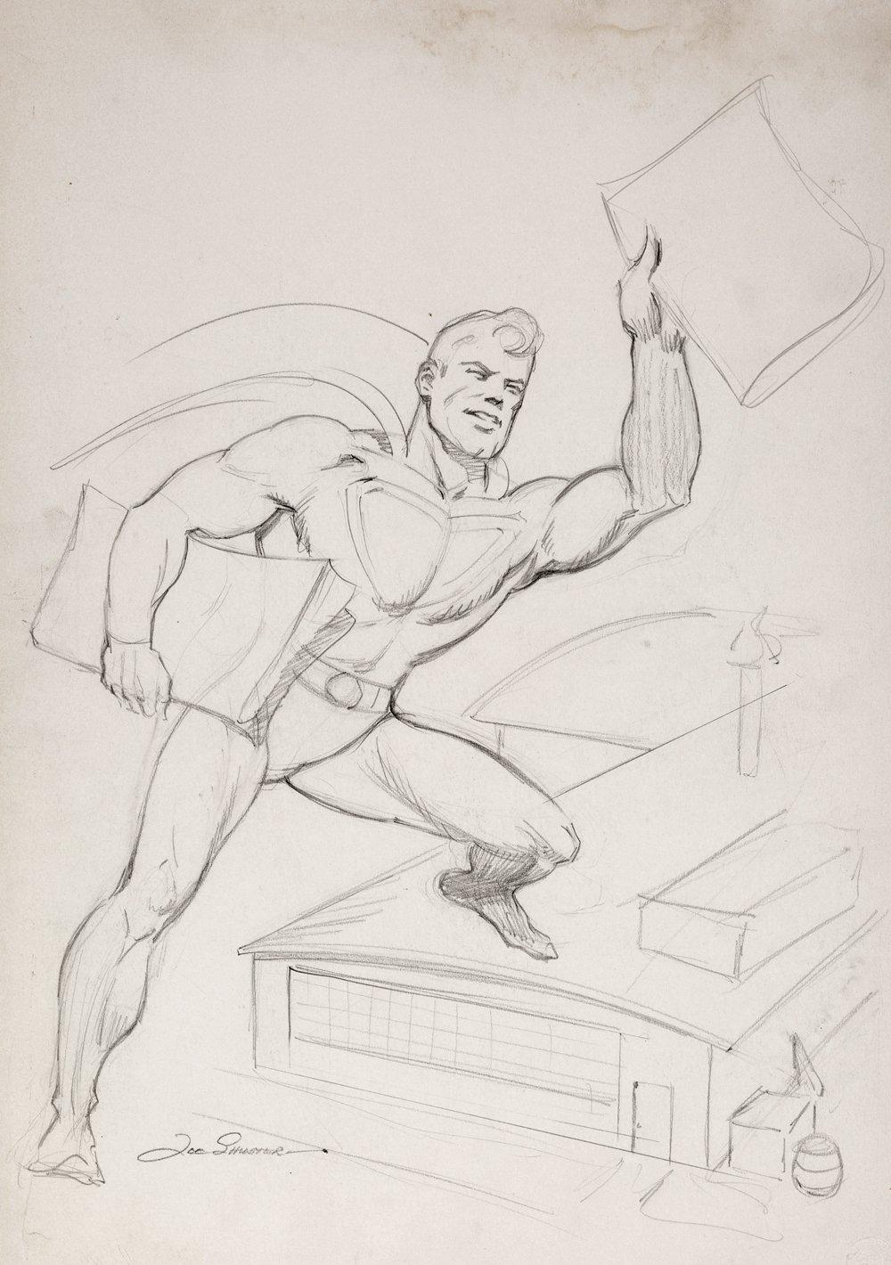 Superman Flying, Delivering Newspapers Illustration (Large Art) 1940s