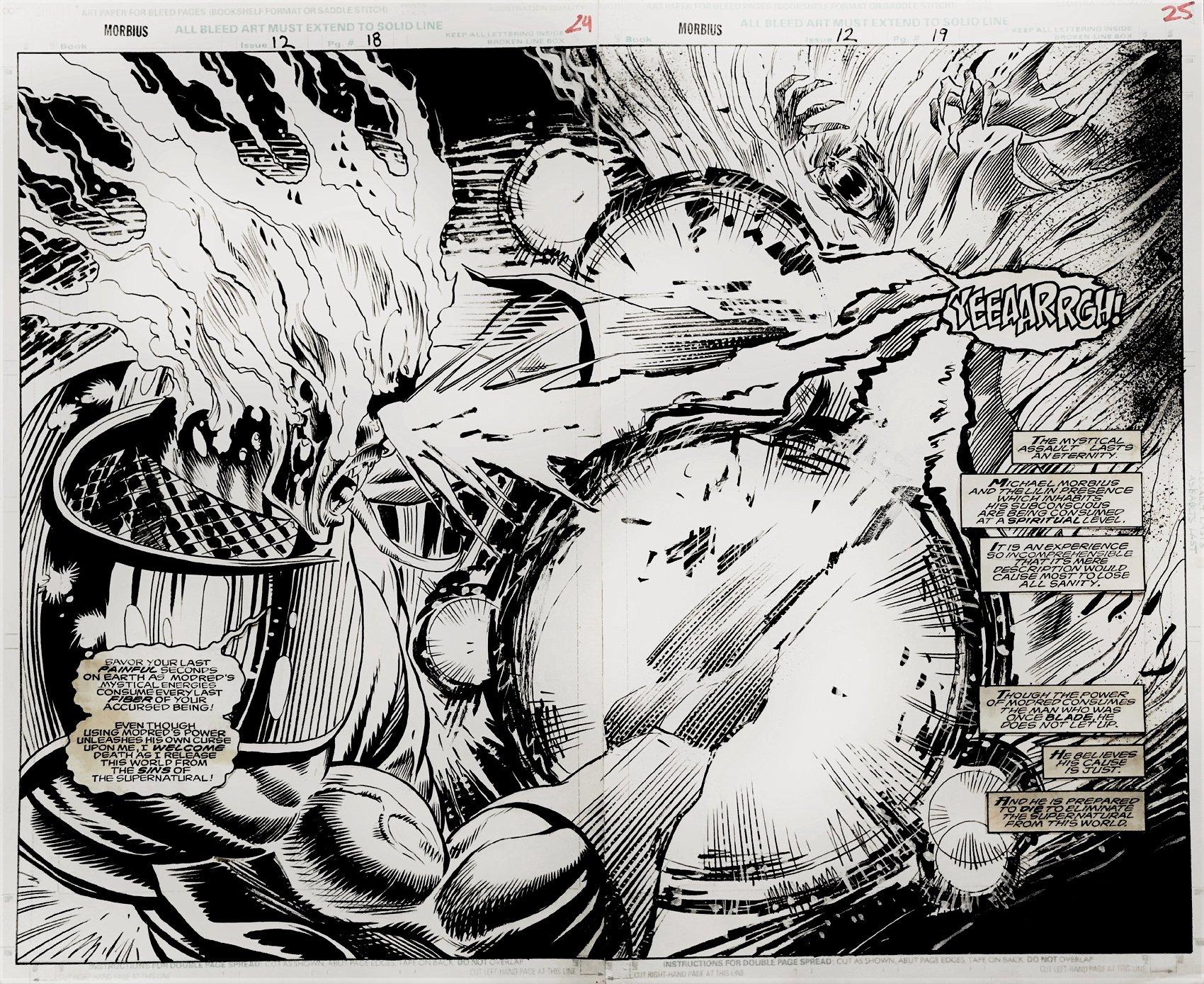 Morbius: The Living Vampire #12 p 18-19 Double Spread Splash (BLADE KILLS MORBIUS RT HERE!) !) 1993