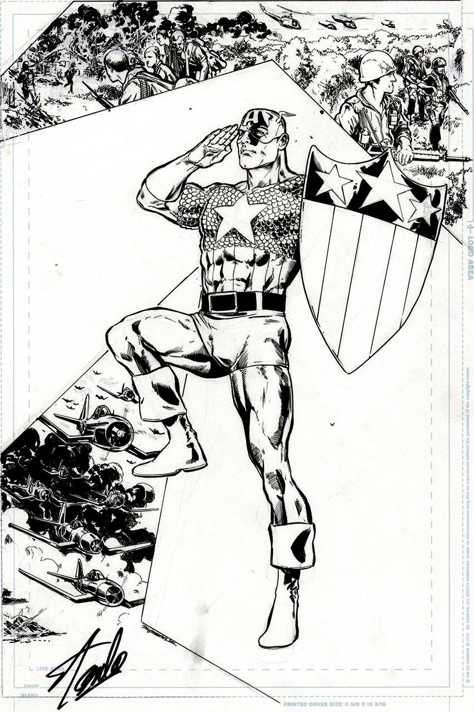 Captain America Corps #2 Cover (SPECTACULAR PATRIOTIC CAP IMAGE!)