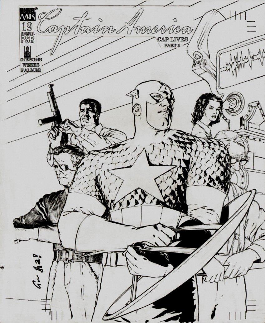 Captain America #19 Cover (Captain America, Nick Fury, Luke Cage, Janet Van Dyne!) Large Art - 2003