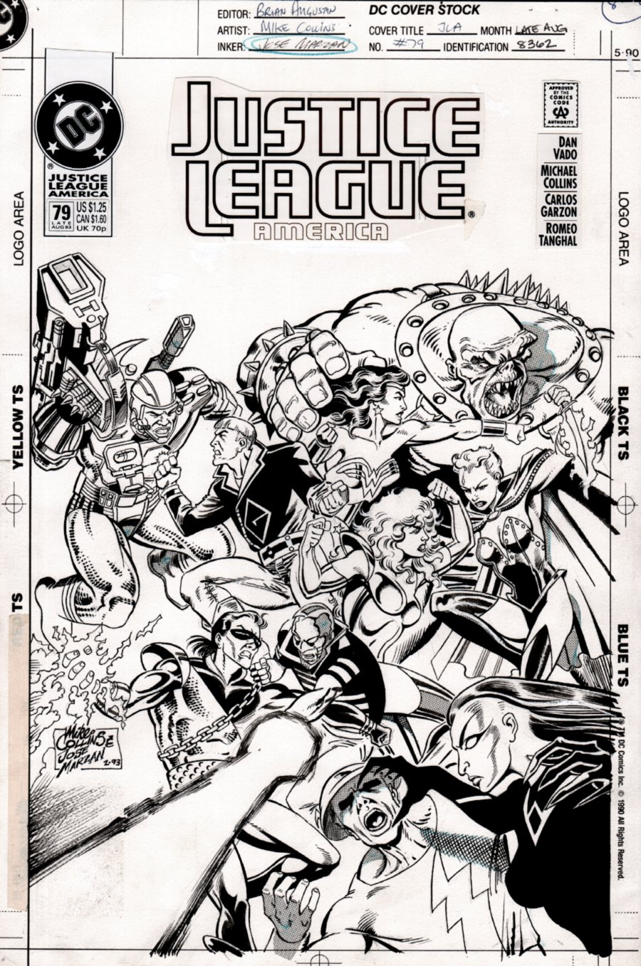 Justice League America #79 Cover (ENTIRE TEAM BATTLE!) 1993