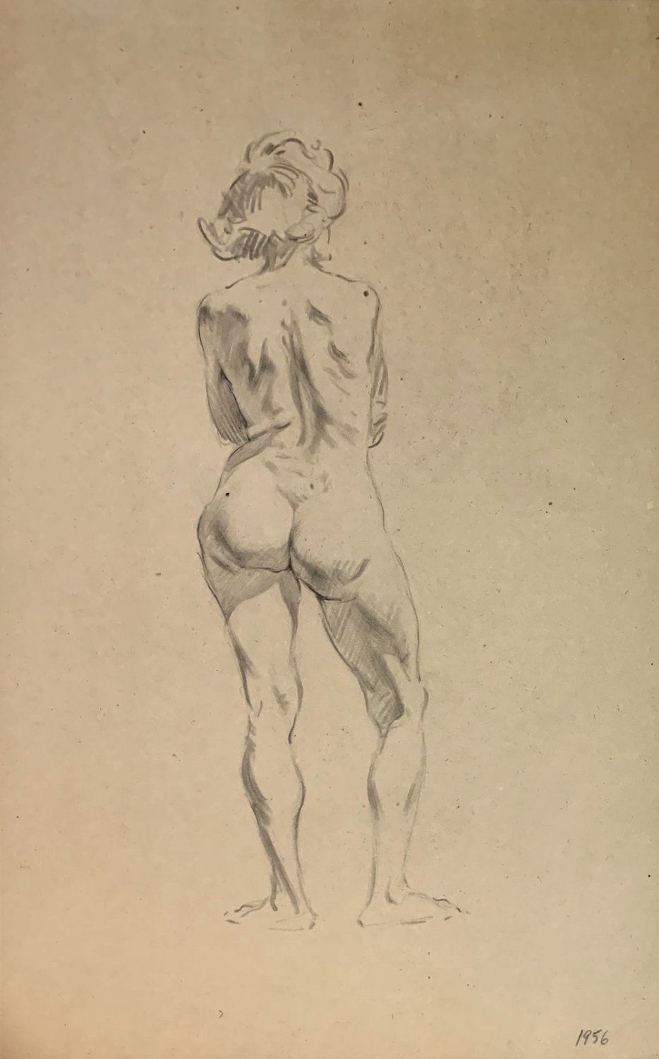 Very Detailed Large Nude Female Drawing (1950s)