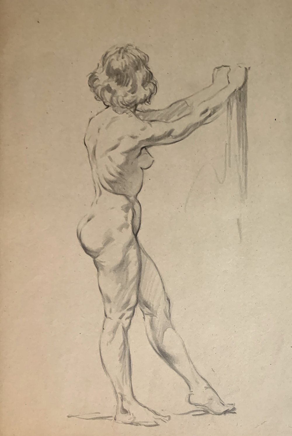 Very Detailed Large Sexy Side View Nude Female Drawing (1950s)