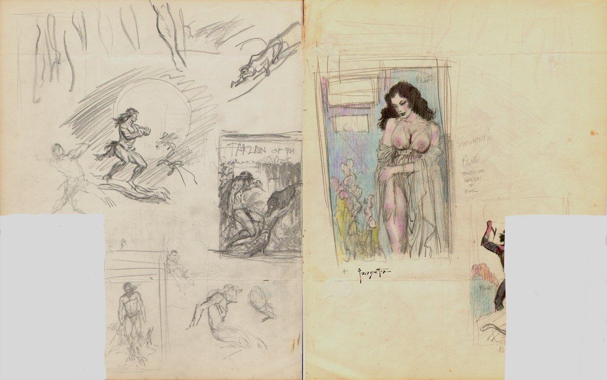 'Brooklyn Dreams' Prelim For Painting, Plus Many Tarzan Cover Prelim Drawings On Back! (1962)