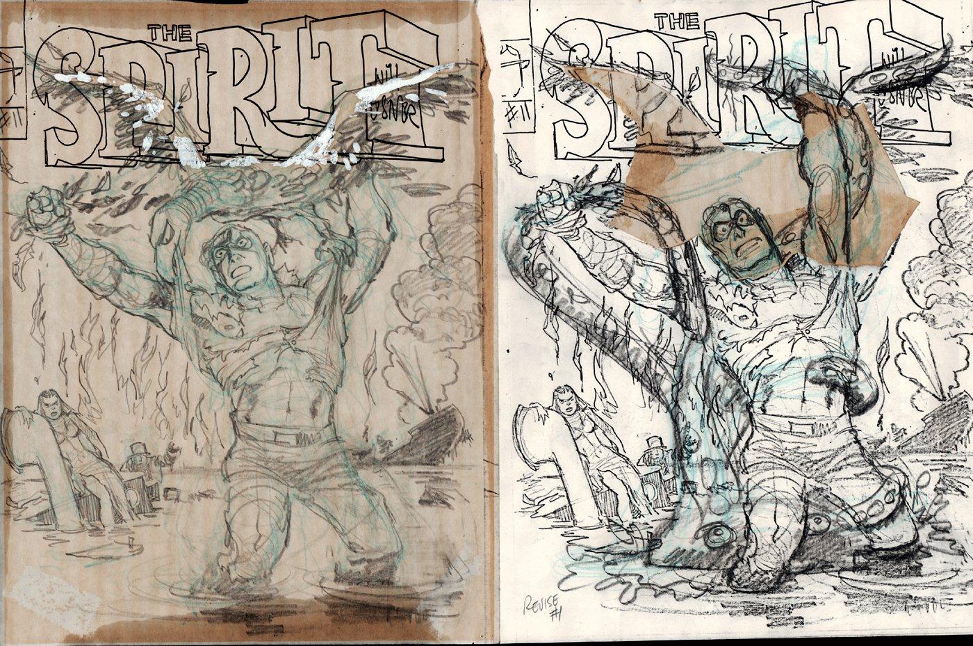 The Spirit #6 Cover 2 Prelim Drawings (1984)