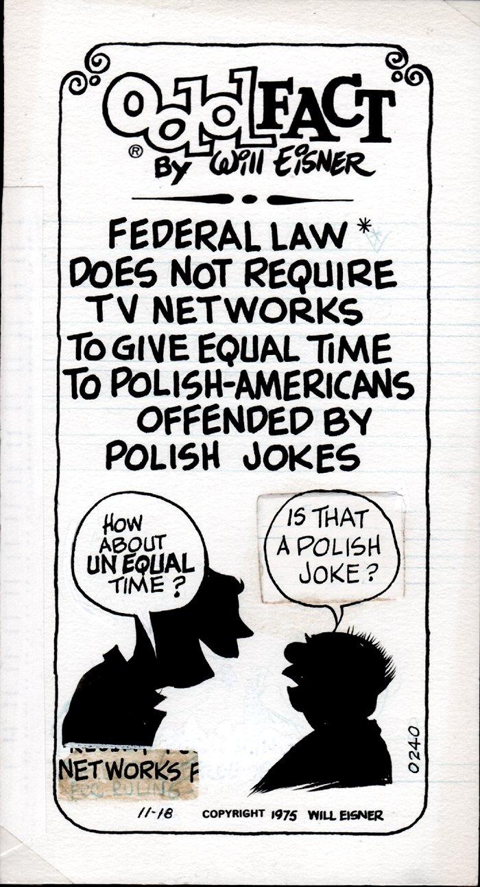 Odd Fact Newspaper Strip By Will Eisner - 11-18-1975