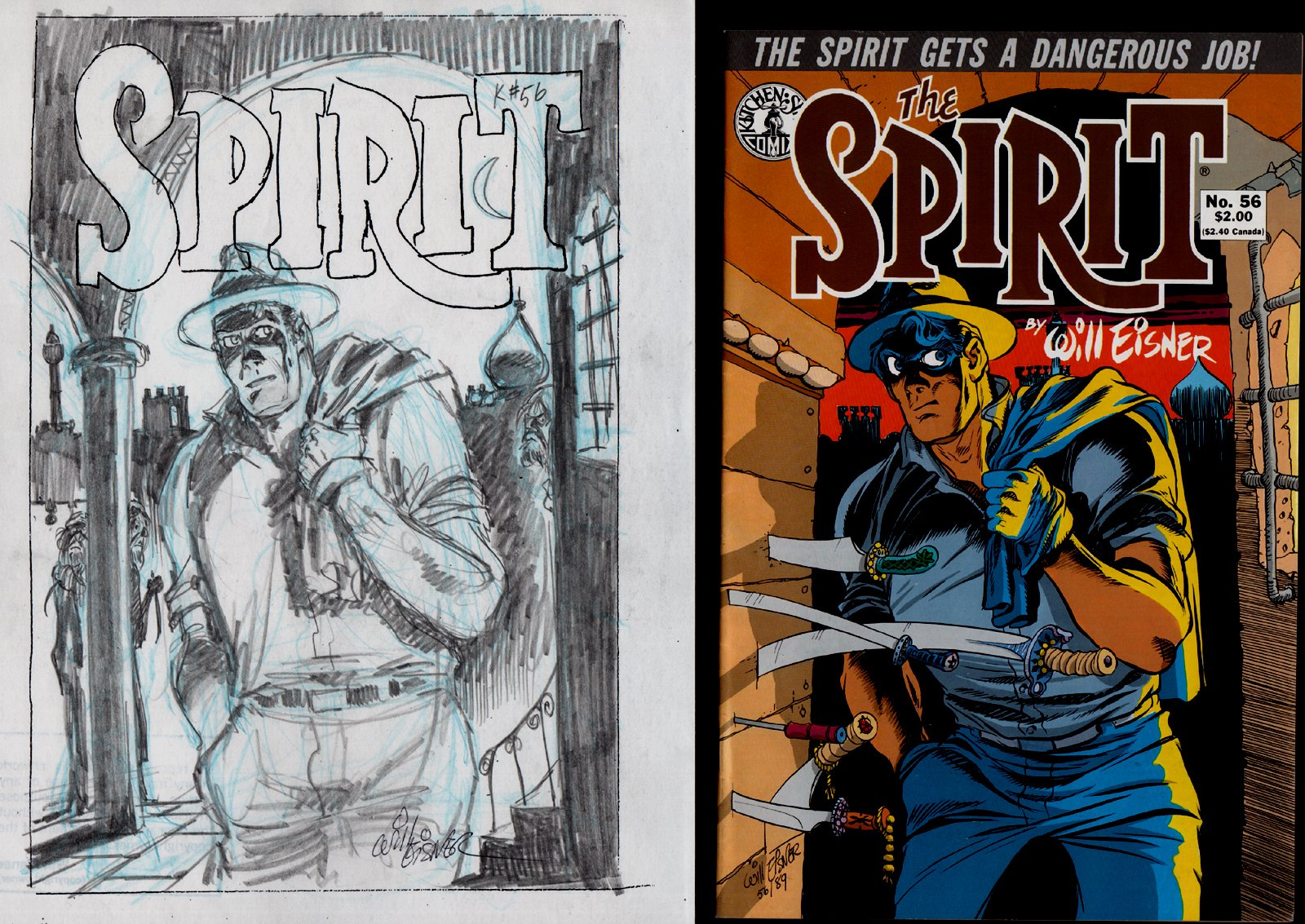 The Spirit #56 Cover Pencils with Actual Comic book (1989)