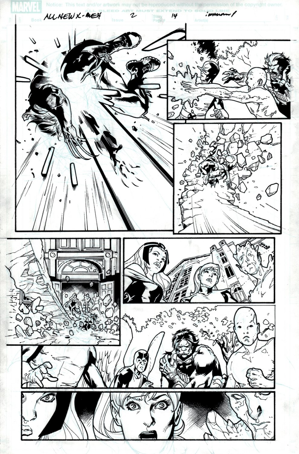 All-New X-Men #2 p 14 (ENTIRE TEAM ACTION PAGE!) 2012