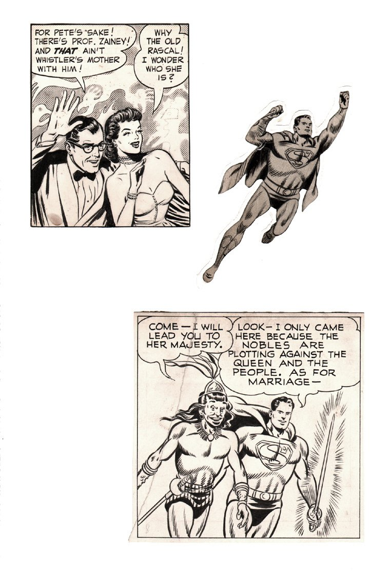 2 Superman Panels of Boring From A 1949 Superman Sunday Strip, and 1 Panel of Golden Age Winn Mortimer!