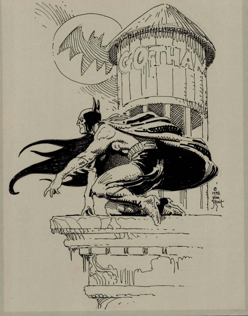 Detailed Batman Drawing (SOLD LIVE ON 'DUELING DEALERS OF COMIC ART' EPISODE #39 PODCAST ON 10-4-2021(RE-WATCH THIS FUNNY ART SELLING SHOW HERE)