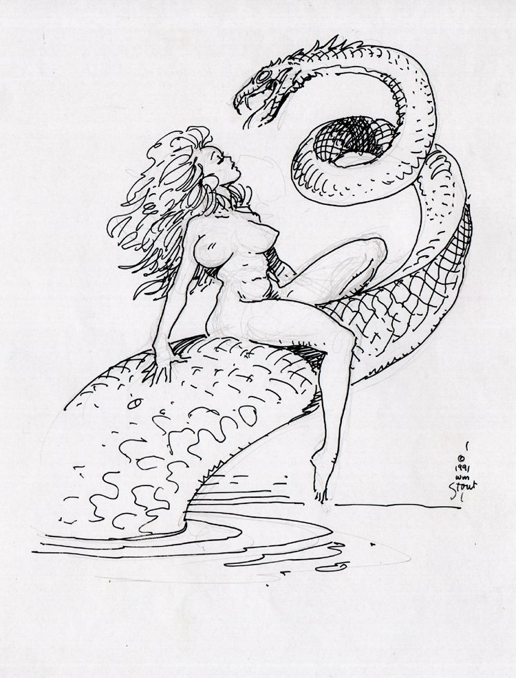 Nude Woman & Serpent Published Pinup (1991)