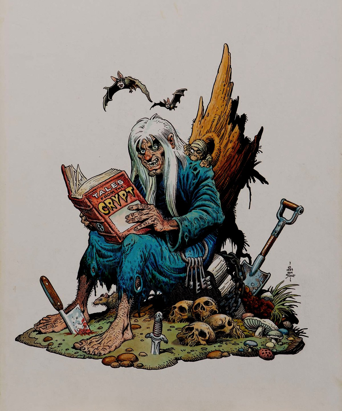 'The Crypt Keeper' Pinup Used For Published Porcelain Statue (Large Art) 1993