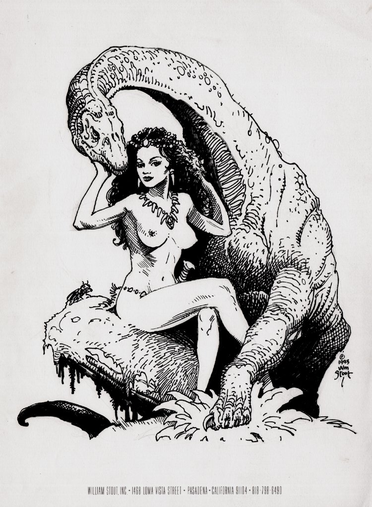 Black nude cave women Nude Cavewoman Brontosaurus Published Pinup 1993 Comic Art For Sale By Artist William Stout At Romitaman Com