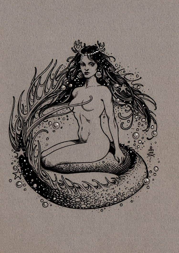 Nude Mermaid Published Comic-Con Sketchbook Cover (1993)