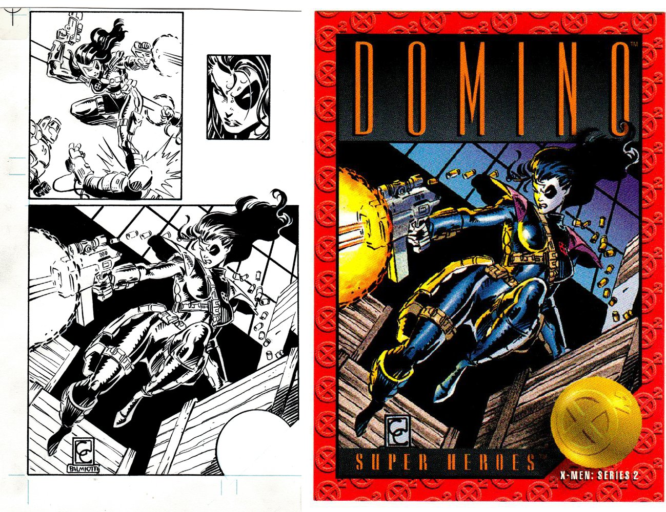 X-Men Series 2 Domino #11 Front & Back Art(SOLD LIVE ON 'DUELING DEALERS OF COMIC ART' EPISODE #32 PODCAST ON 8-18-2021(RE-WATCH THIS FUNNY ART SELLING SHOW HERE)