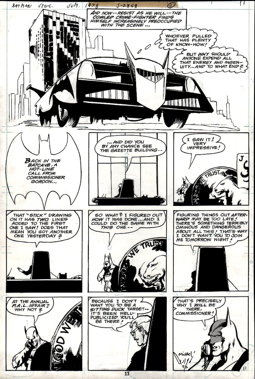 DC Special Series #15 p 11 (BATMAN, BAT-MOBILE, & HUGE LINCOLN PENNY IN BAT-CAVE!) 1978