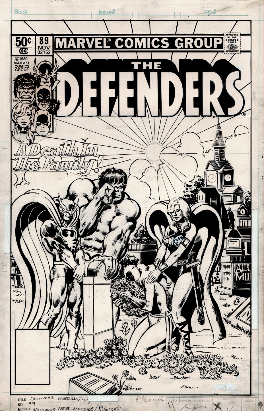 Defenders #89 Cover (A Death In The Family!) 1980