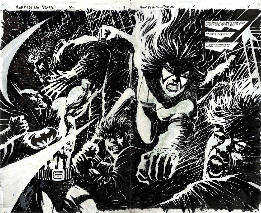 Huntress #2 p 2-3 Double Spread BATMAN Splash (1994)