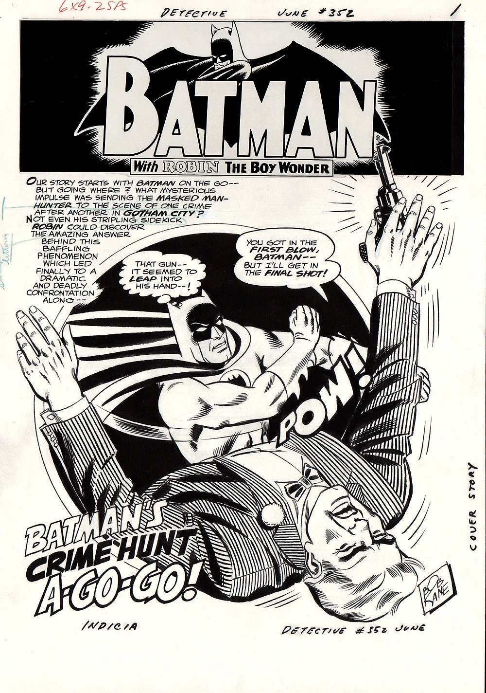 Detective Comics #352 p 1 SPLASH (Large Art) 1966