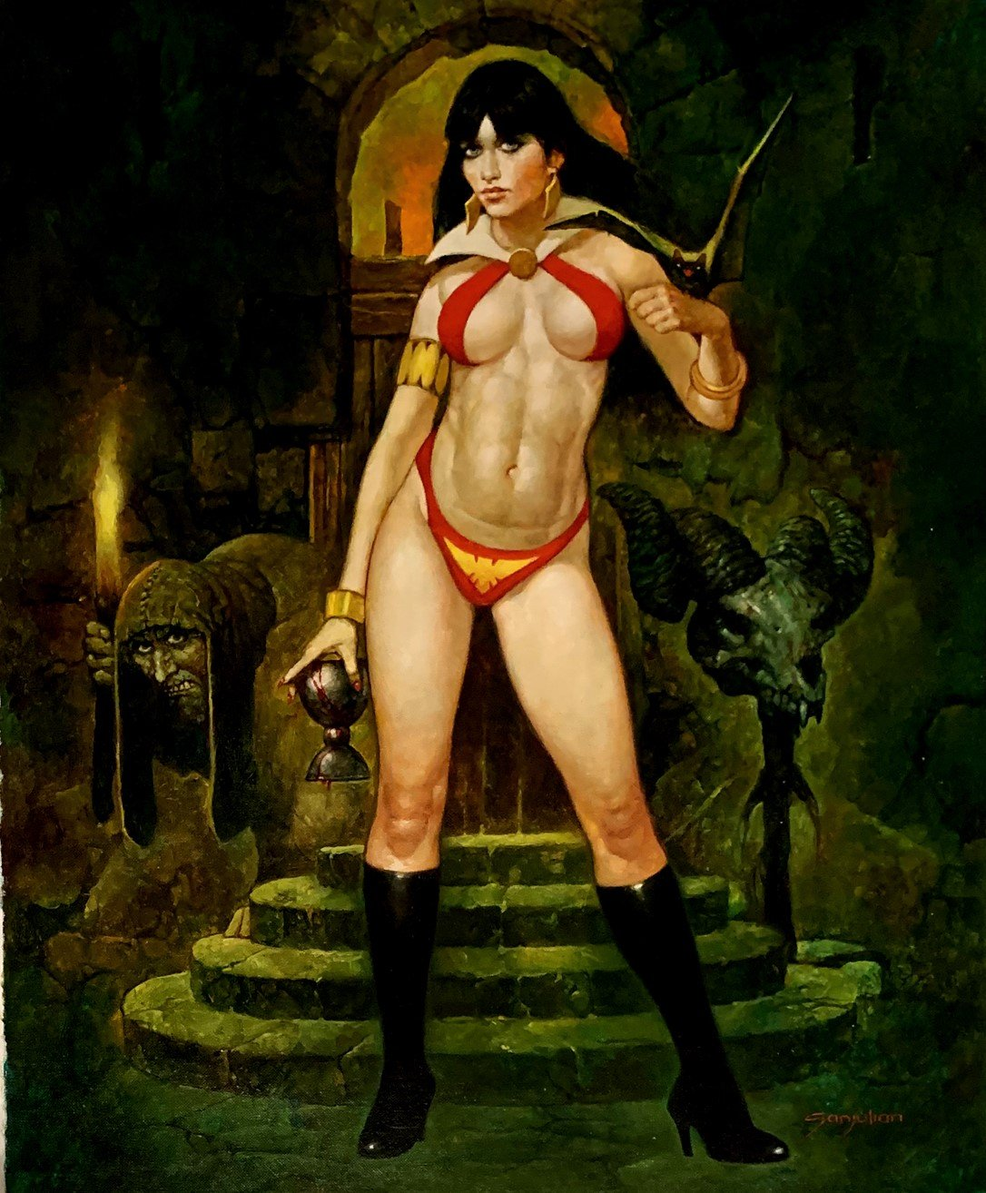 Vampirella Detailed Large Painting On Canvas