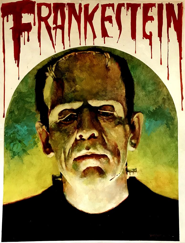 FRANKENSTEIN Acrylic Cover Painting (HUGE) 1974