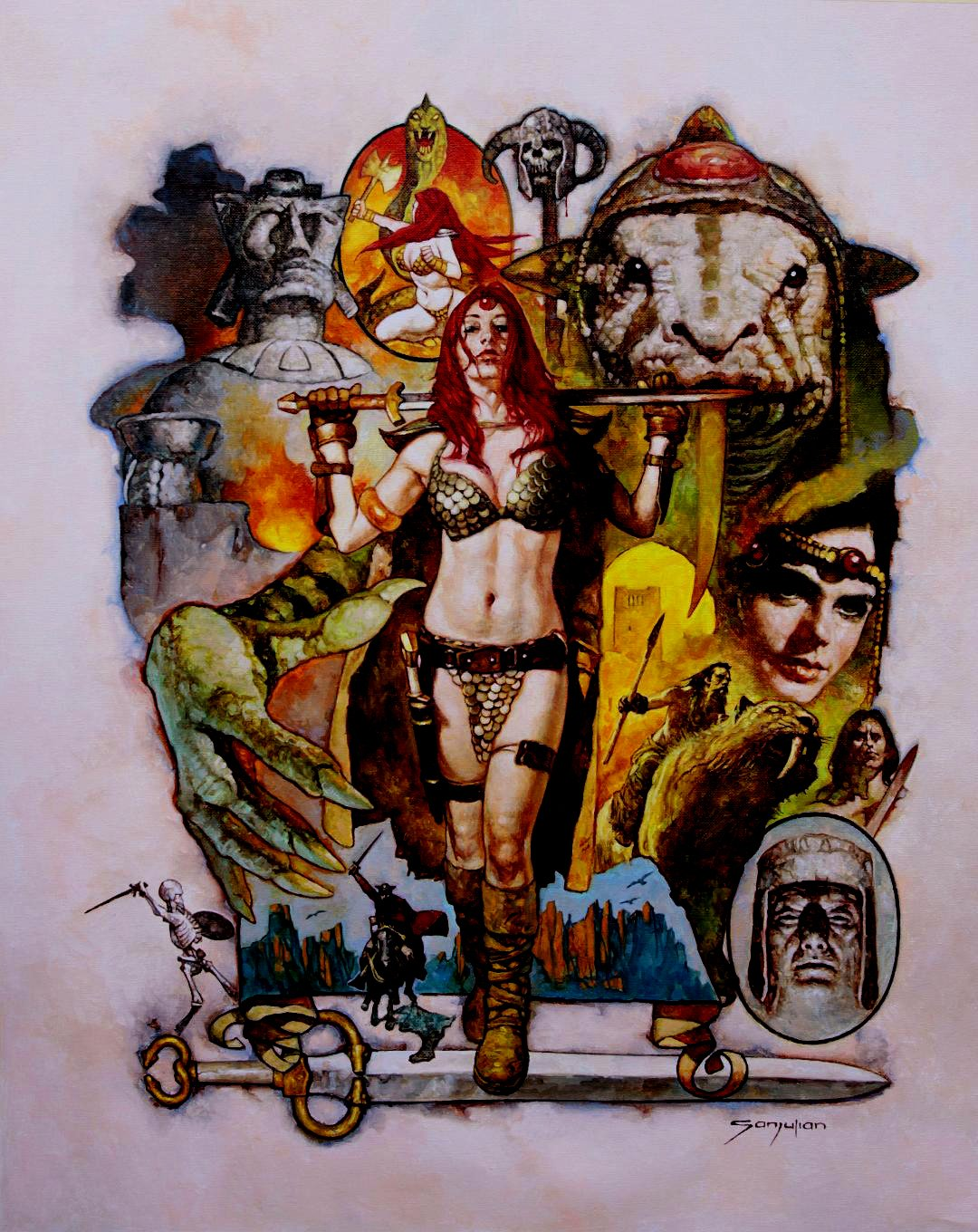 Red Sonja VERY Sexy Detailed Large Painting On Canvas