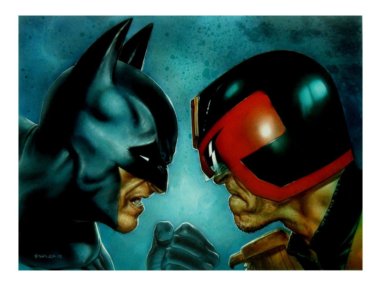 Batman Vs. Judge Dredd Painting