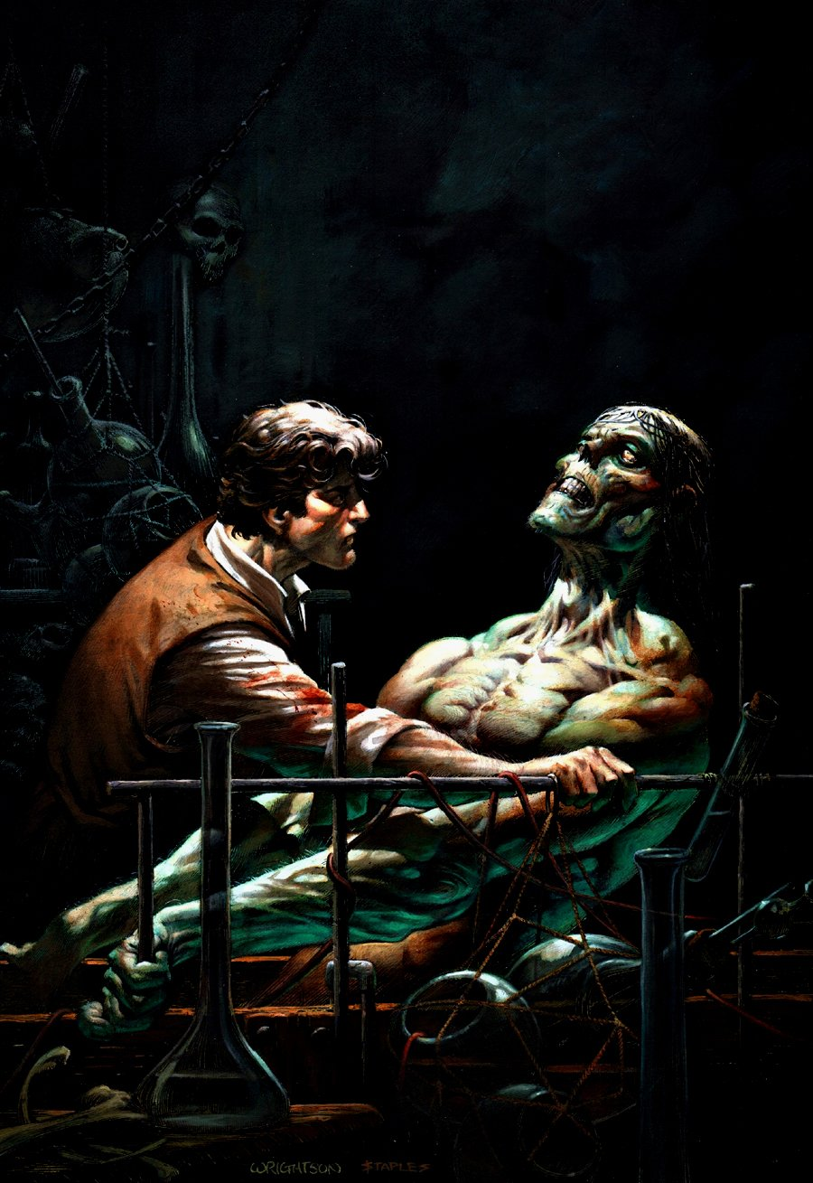 Bernie Wrightson Frankenstein Homage Oil Painting Created For Director Frank Darabont!