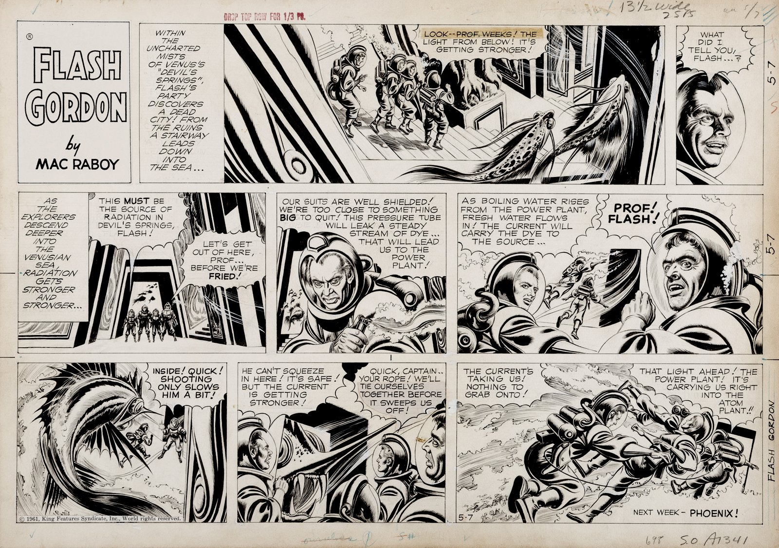 Flash Gordon Sunday Strip (Phenomenal Space Suit Monster Battle, Flash In 6 Biggest Panels!) 5-7-1961