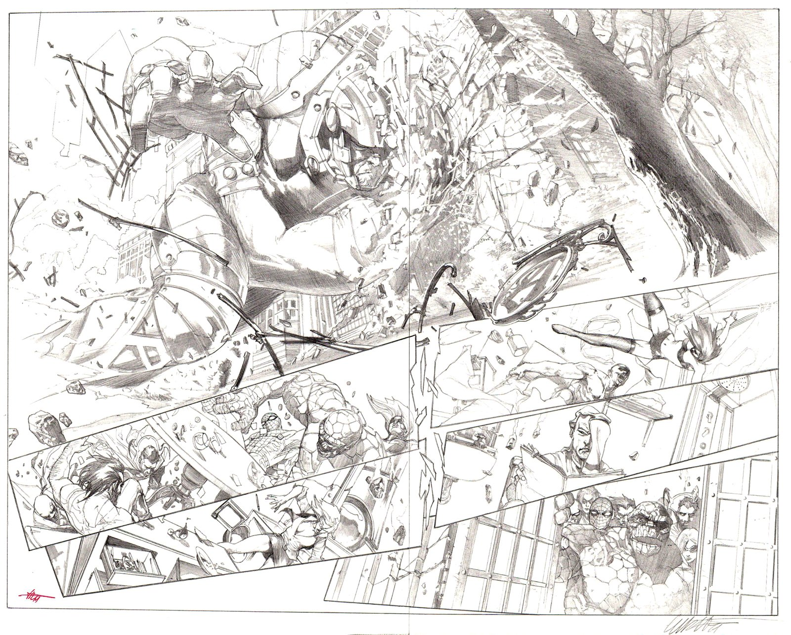 New Avengers Annual #1 p 18-19 Double Page Spread (!) 2011
