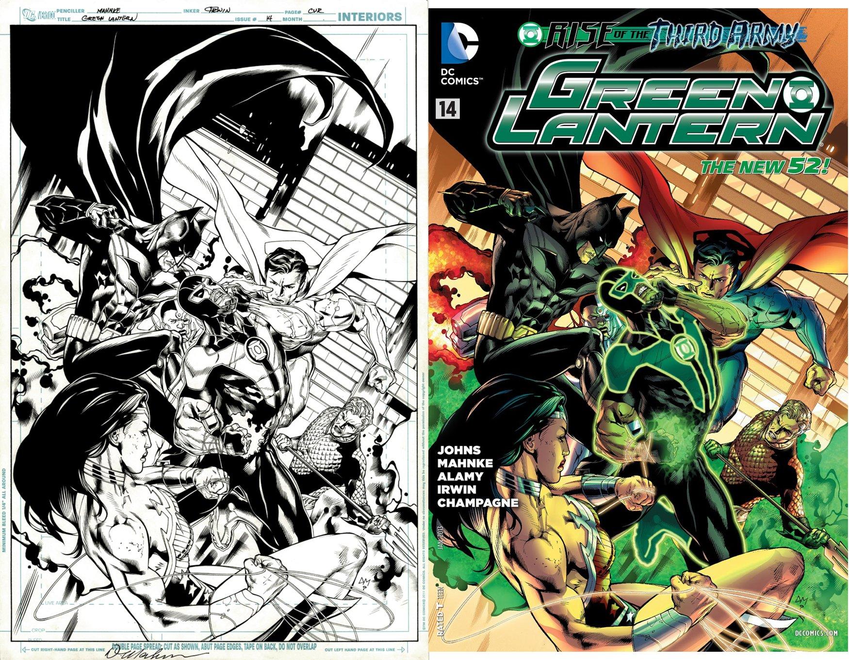 Green Lantern #14 Cover (6 JLA: Green Lantern, Aquaman, Batman, Cyborg, Superman, Wonder Woman!) 2012