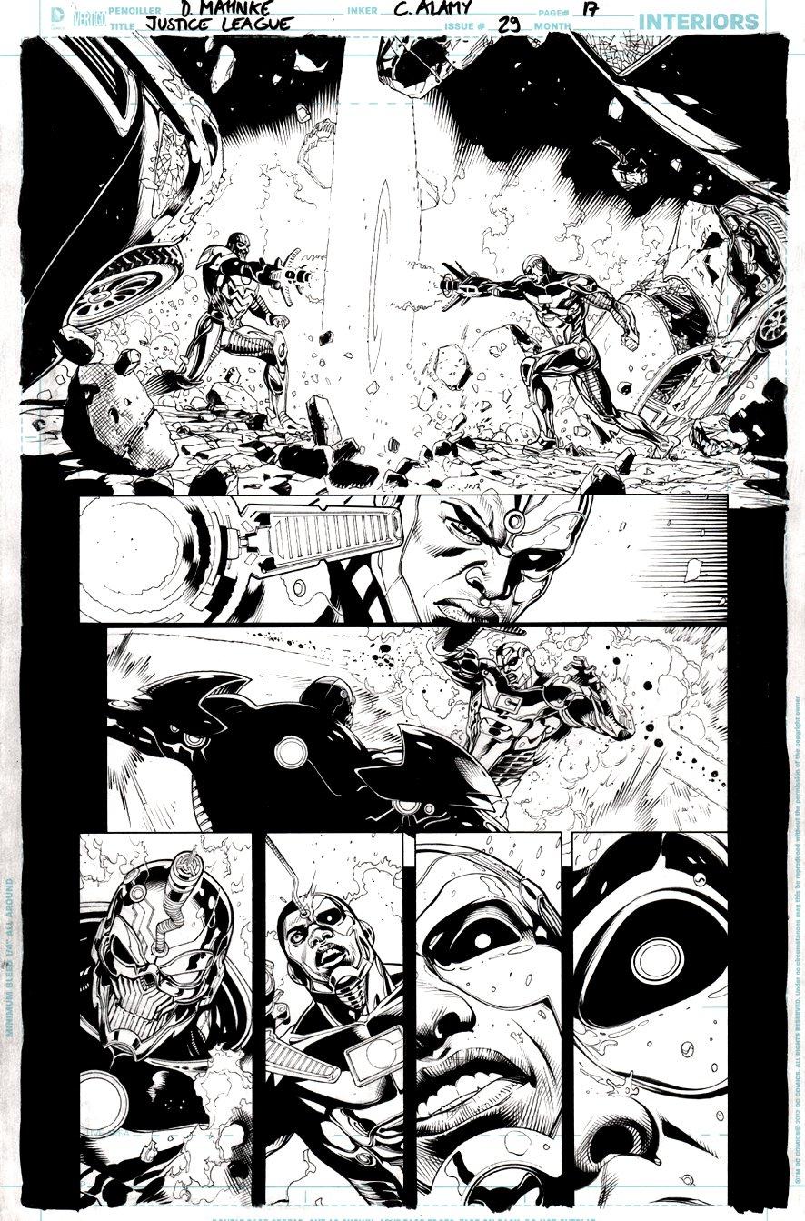Justice League #29 p 17 (CYBORG VS GRID!) 2014