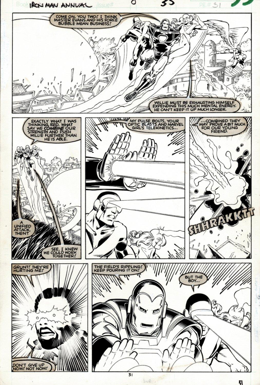 Iron Man Annual #8 p 31 (Iron Man, Cyclops, Jean Grey, Angel, Iceman, Beast!) 1986