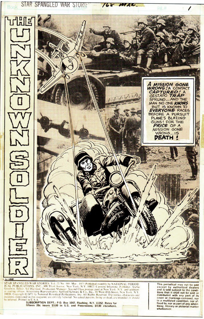 Star Spangled War Stories #168 UNKNOWN SOLDIER Complete 14 Page War Story (1972)