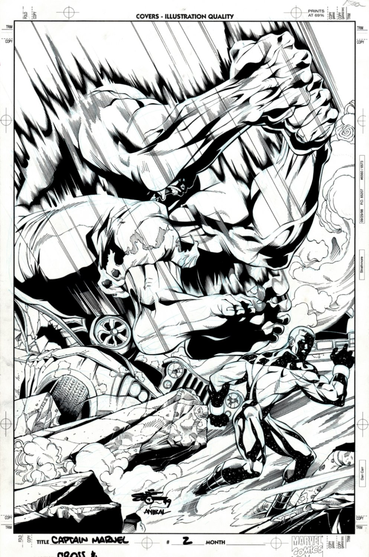 Captain Marvel #2 Cover (Captain Marvel Vs Incredible Hulk!) 1999